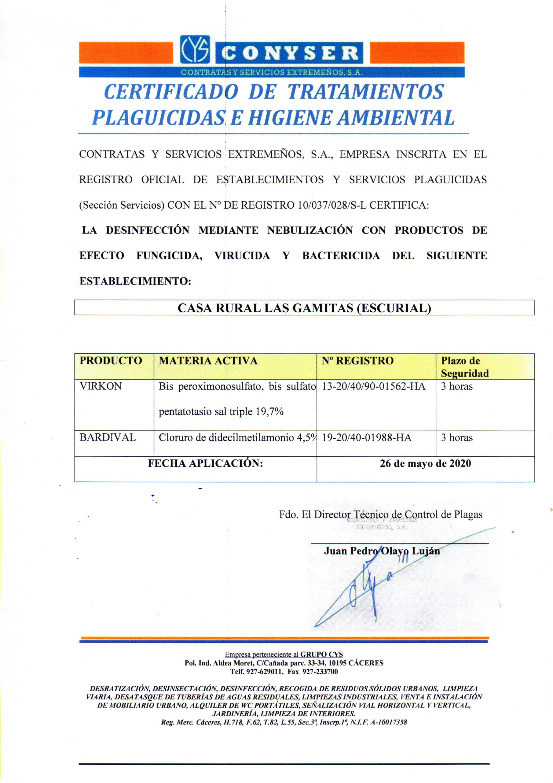 Certificado desinfección